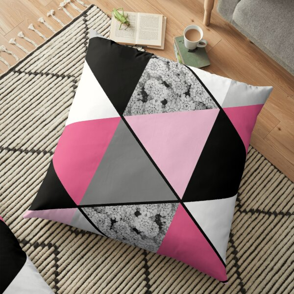 Triangles Black White Pink Grey and Flowers Floor Pillow