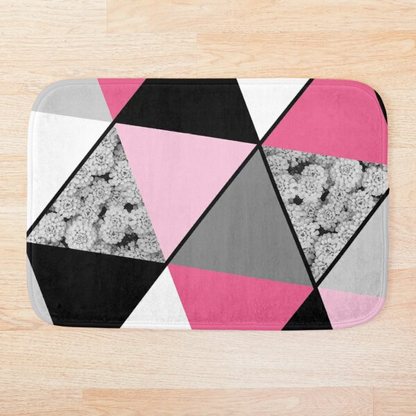 Triangles Black White Pink Grey and Flowers Bath Mat