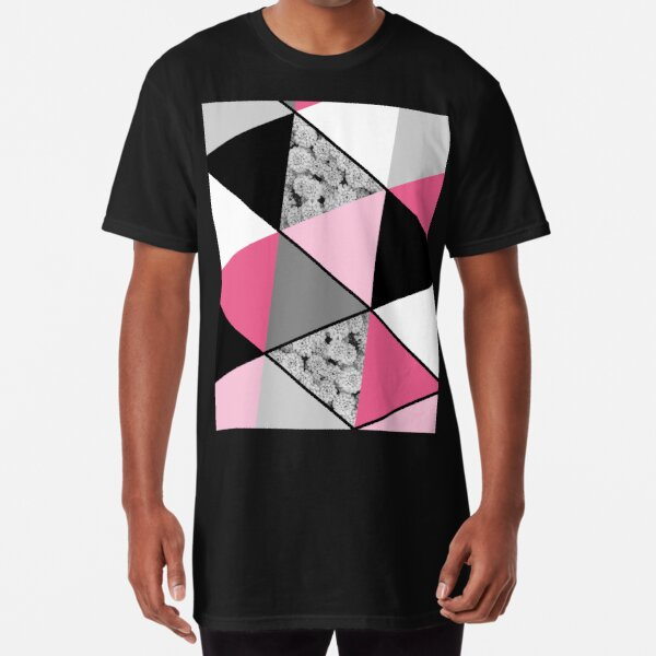 Triangles Black White Pink Grey and Flowers Long T-Shirt