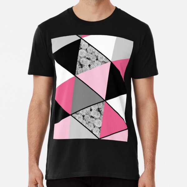 Triangles Black White Pink Grey and Flowers Premium T-Shirt