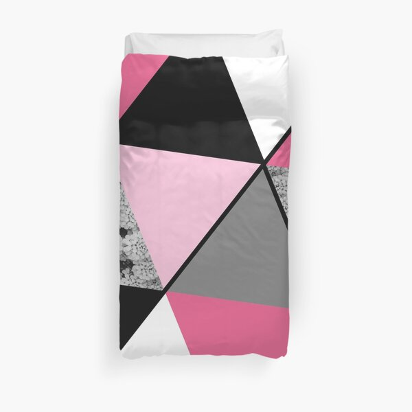 Triangles Black White Pink Grey and Flowers Duvet Cover