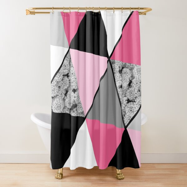 Triangles Black White Pink Grey and Flowers Shower Curtain