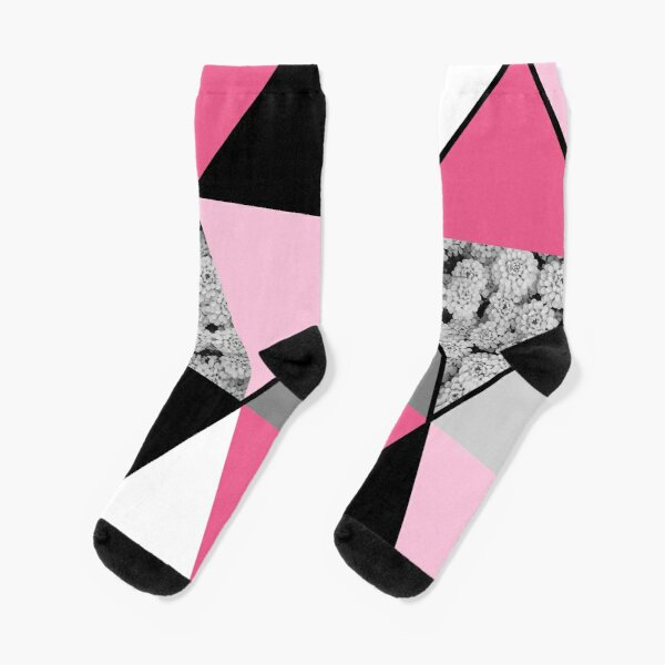 Triangles Black White Pink Grey and Flowers Socks