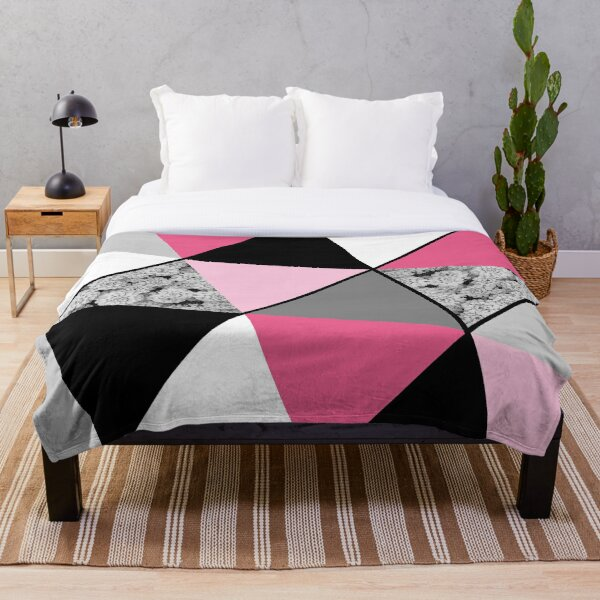 Triangles Black White Pink Grey and Flowers Throw Blanket