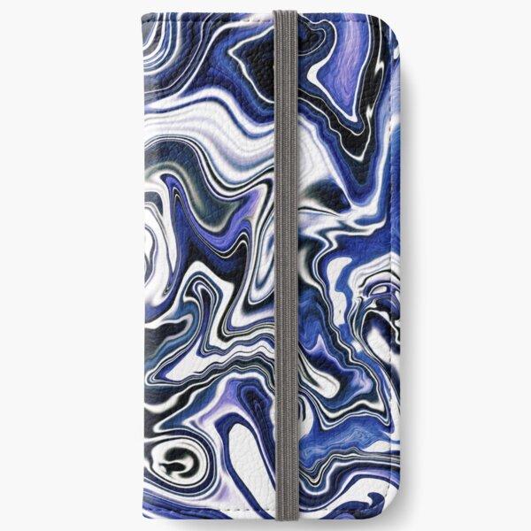 Blueberry Milk Dutch Marble Acrylic Paint Pour iPhone Wallet