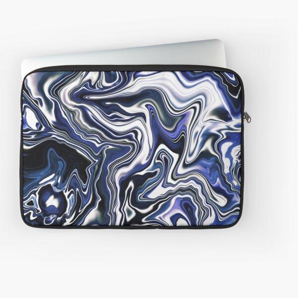Blueberry Milk Dutch Marble Acrylic Paint Pour Laptop Sleeve