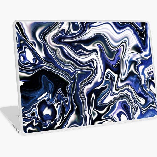 Blueberry Milk Dutch Marble Acrylic Paint Pour Laptop Skin
