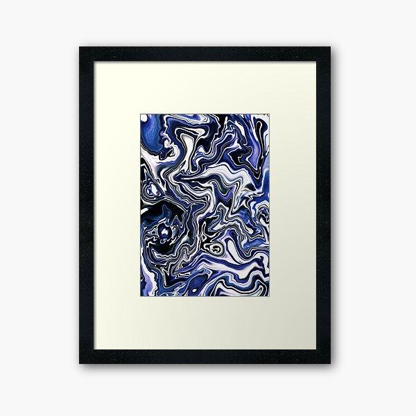 Blueberry Milk Dutch Marble Acrylic Paint Pour Framed Art Print