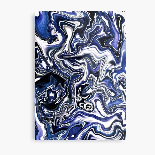 Blueberry Milk Dutch Marble Acrylic Paint Pour Metal Print