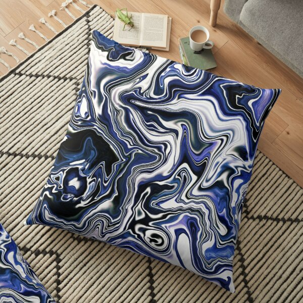 Blueberry Milk Dutch Marble Acrylic Paint Pour Floor Pillow