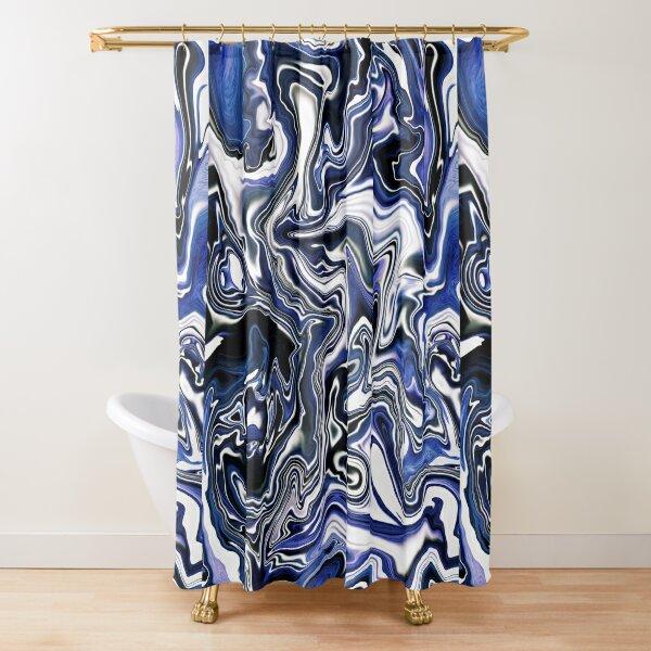 Blueberry Milk Dutch Marble Acrylic Paint Pour Shower Curtain