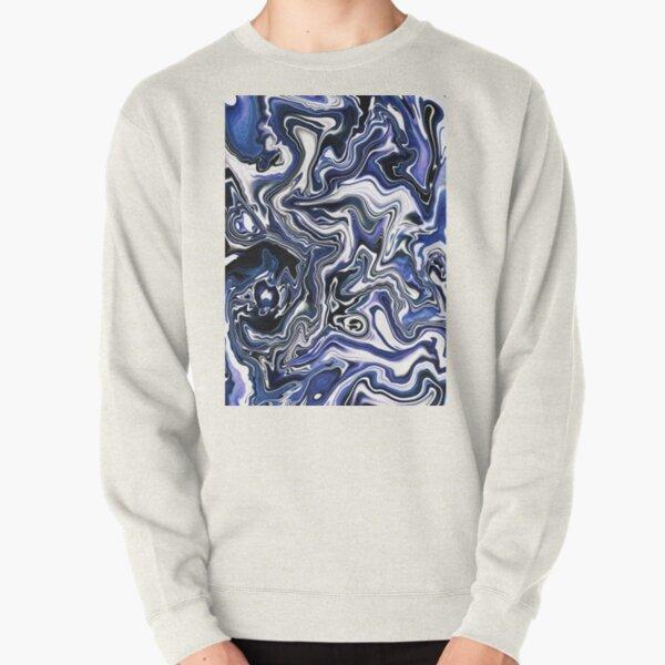 Blueberry Milk Dutch Marble Acrylic Paint Pour Pullover Sweatshirt
