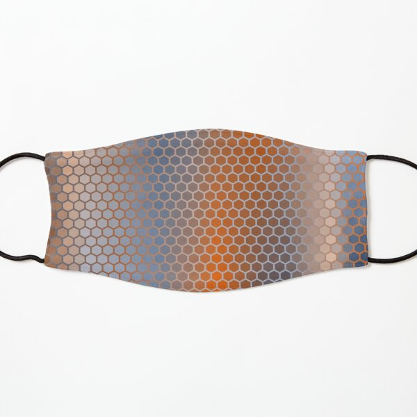 Blue Orange Brown Hexagon Pattern Kids Mask