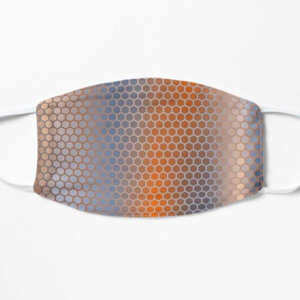 Blue Orange Brown Hexagon Pattern Flat Mask