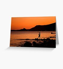 Lonely Fisherman At Sunset Greeting Card