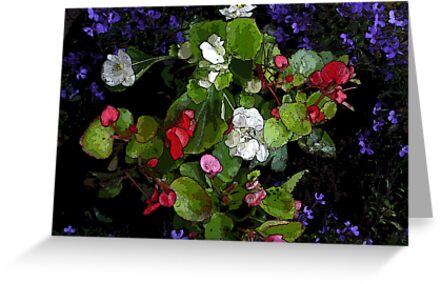 colourful flowers with comic effect by kniferobin