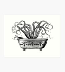 Tentacles in the Tub   Octopus   Black and White Art Print