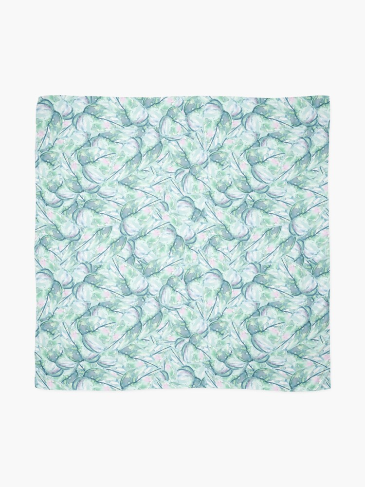 Alternate view of Blue and Green Watercolor Leaves Scarf