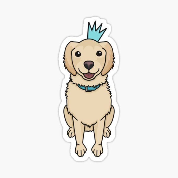 Winston le chien Golden Retriever souriant assis avec couronne Sticker