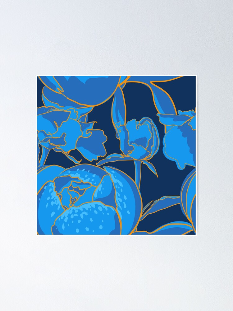 Alternate view of Blue Peony Poster