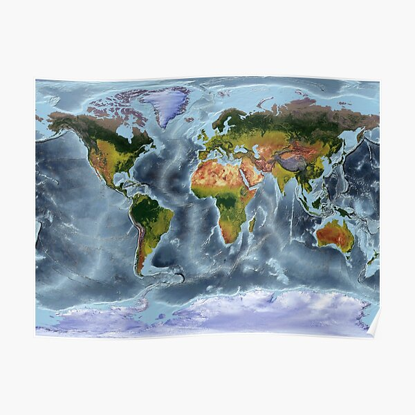 Gall Stereographic - World Map showing land and oceans Poster