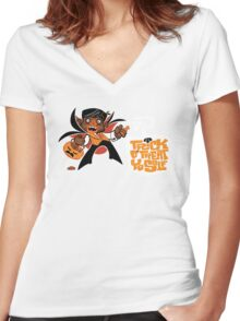 Trick O' Treat Yo Self Women's Fitted V-Neck T-Shirt