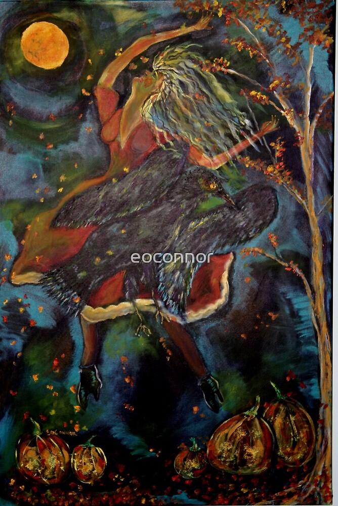 Raven Dancing Under Harvest Moon by eoconnor