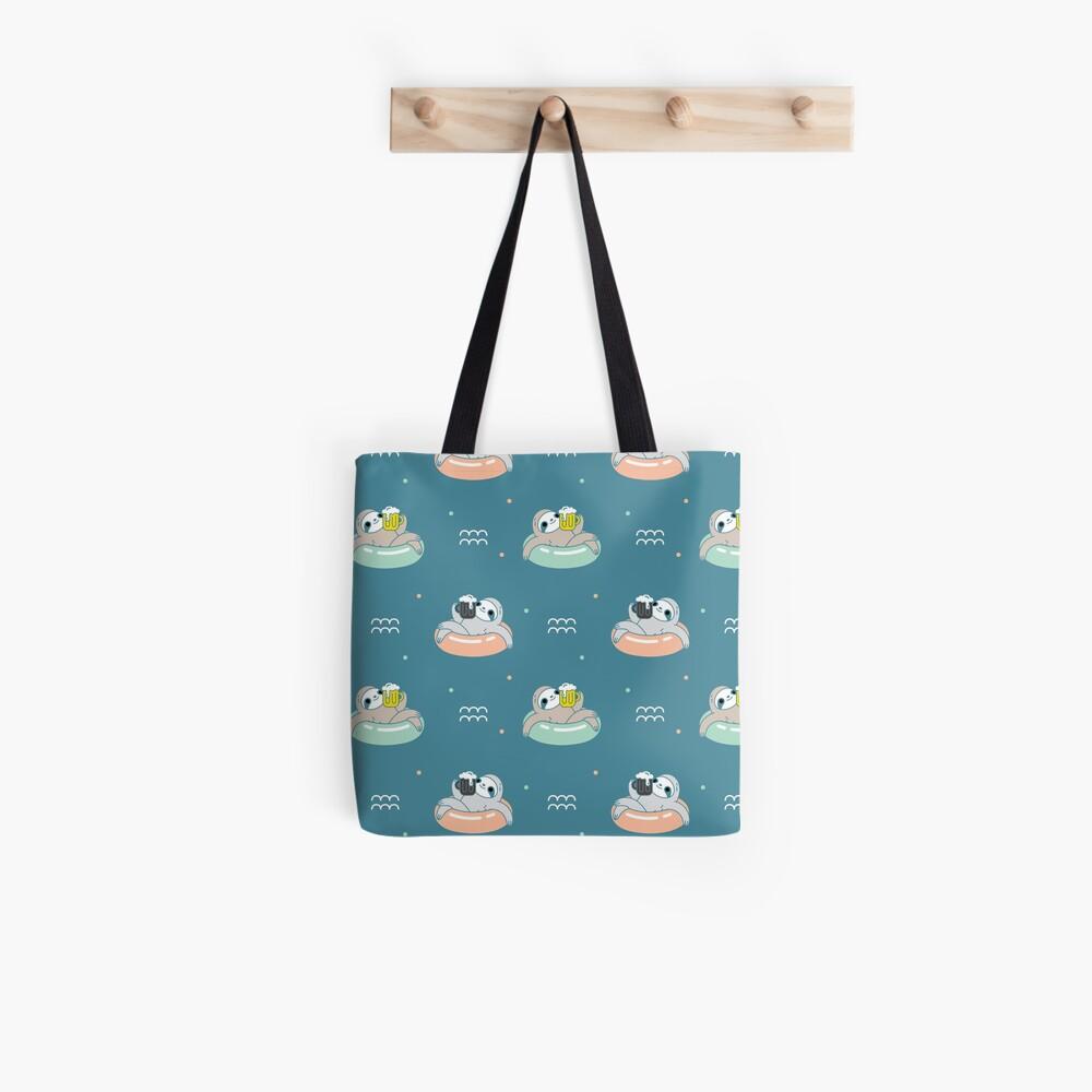 Beer Sloth Pattern Tote Bag