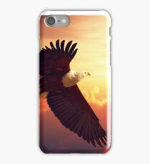 Fish Eagle flying above clouds iPhone Case/Skin