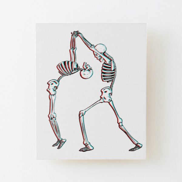Vintage Day Of Dead Colorful Print: Fun Black White Skeleton Dancing Cool Happy Dead Mounted