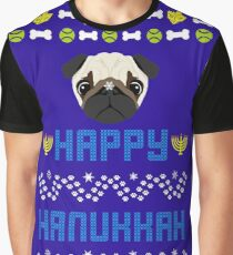 Pugly Hanukkah Ugly Christmas Sweater Style Graphic T-Shirt