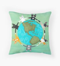 Cats Around the Earth Throw Pillow