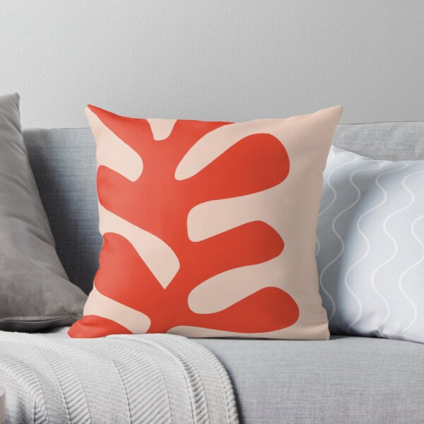Henri Matisse - Leaf Cutout - Papier Découpés - Red Throw Pillow