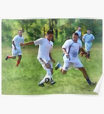 Kicking Soccer Ball Poster