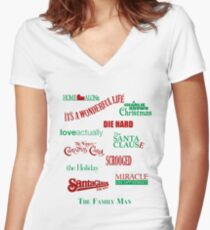 Christmas Movies Women's Fitted V-Neck T-Shirt