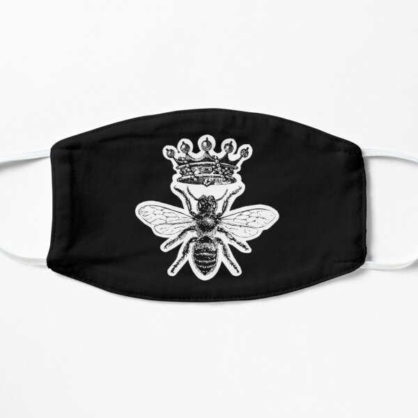 Queen Bee | Vintage Honey Bees | Black and White |  Flat Mask