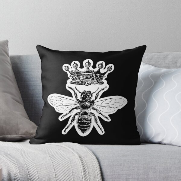 Queen Bee | Vintage Honey Bees | Black and White |  Throw Pillow