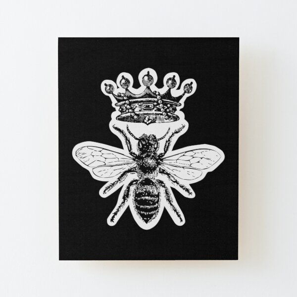 Queen Bee   Vintage Honey Bees   Black and White    Wood Mounted Print