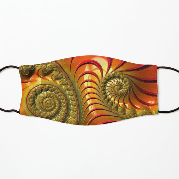 Tequila Sunrise - Summery Orange Yellow and Gold Tropical Fractal Kids Mask