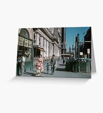 Pedestrians at end of Post Office next to Tin Shed Elizabeth street 19610200 0010 Greeting Card