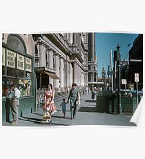 Pedestrians at end of Post Office next to Tin Shed Elizabeth street 19610200 0010 Poster