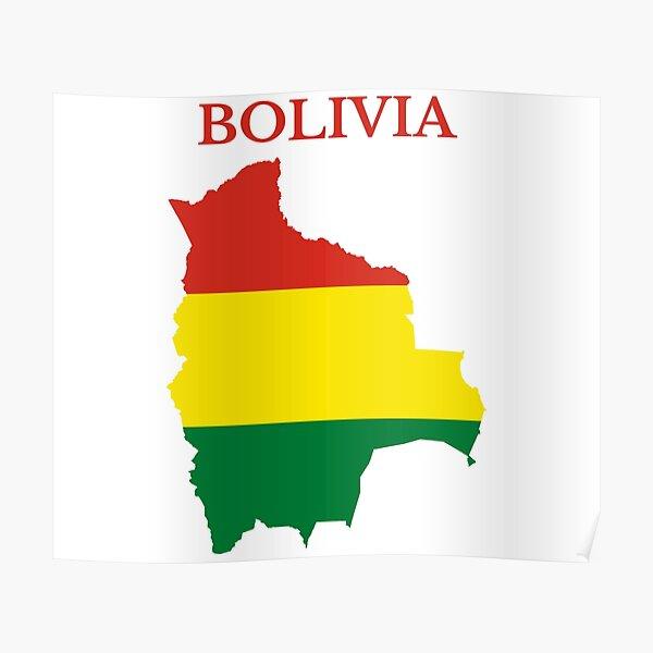 Bolivia flag map Poster