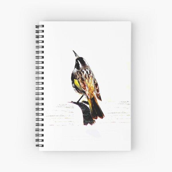 New Holland Honeyeater Bird, Bird Art, Bird Graphic Spiral Notebook