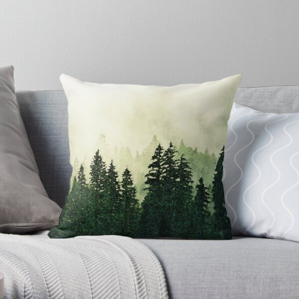 Misty Forest - Watercolor Throw Pillow