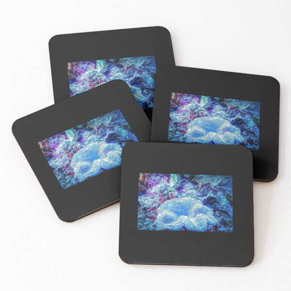 Soft Coral Feeding In Deep Sea Blue - Mixed Media DiveArt Coasters (Set of 4)