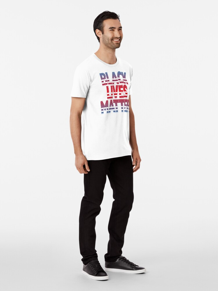 Alternate view of Black Lives Matter (Fight Injustice • Walk With Us Slogan • Red and Blue) Premium T-Shirt