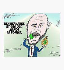 Chef du US Fed Ben BERNANKE en caricature Photographic Print