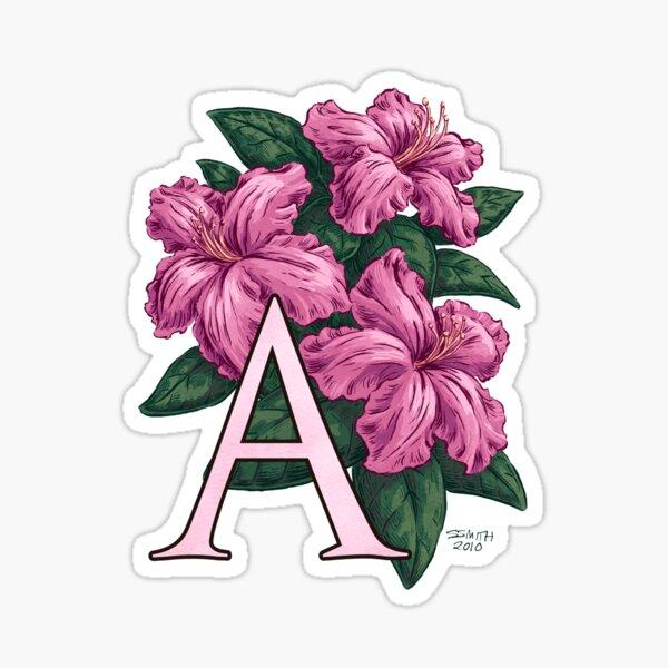 A is for Azalea Flower Monogram Sticker