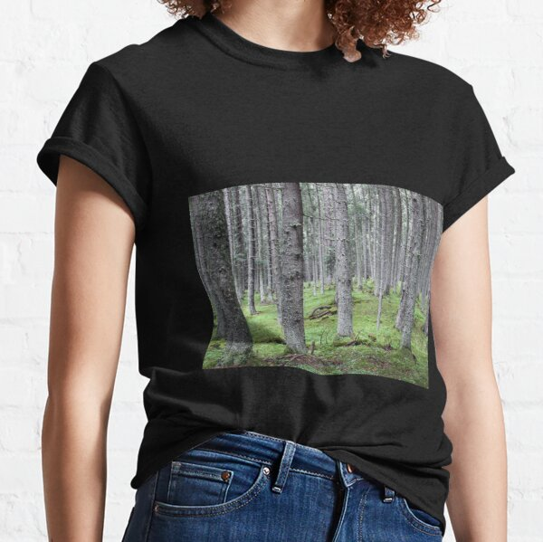 Silent pine tree forest with secular trees, deep in nature Classic T-Shirt