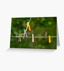 Cloth Pins On The Line Greeting Card